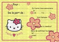Invitation hello kitty anniversaire fête fleurs Debutante