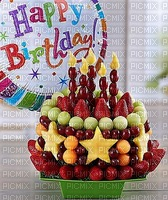Fruits frais gâteau Joyeux anniversaire