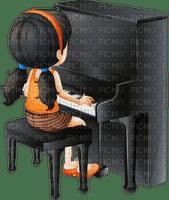 Kaz_Creations Cartoon Girl Playing Piano