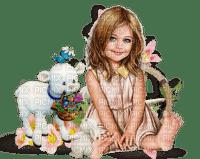 Petite fille et sa chèvre (stamp clem27)