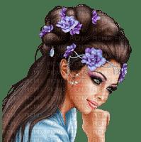 Femme fleur bleue