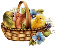 Easter Basket Blue Yellow Brown - Bogusia