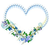 heart blue flowers deco  coeur  bleu