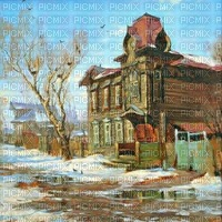 Winter, Landschaft, Dorf, Hintergrund