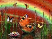 image encre la nature paysage fleurs papillon edited by me