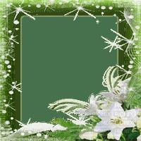 GREEN FRAME WHITE FLOWER cadre vert Blanc fleurs