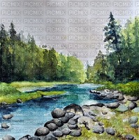 river landscape watercolor