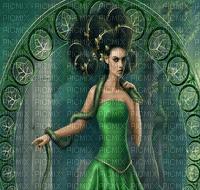 Lady, Ladies, Woman, Women, Female, Girl, Girls, Snake, Snakes, Fantasy, Background, Backgrounds, Green - Jitter.Bug.Girl