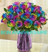 multicolore image encre bon anniversaire color violet jaune bleu effet fleurs bouquet  edited by me