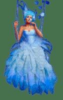 femme robe bleue