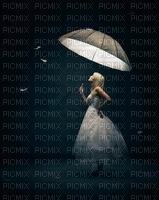 menina guarda chuva fundo maga