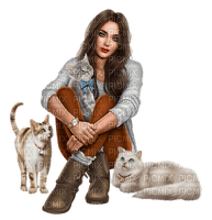 Woman with her cats. Leila