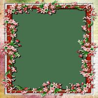 vintage flower frame red pink cadre fleurs