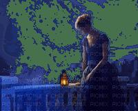 woman lantern night