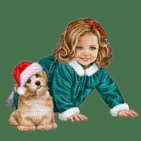 Petite fille avec chien(Noël)