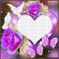 Fond coeur debutante roses papillons oiseau blanc purple bg purple flower butterfly white heart bg white bird