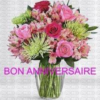 multicolore image encre bon anniversaire fleurs bouquet violet rose vert edited by me