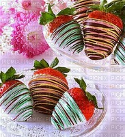 fraises enrobées de chocolat avec des vermicelles de bonbons