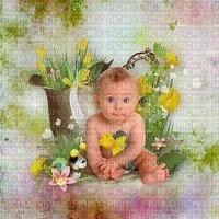 image encre bébé  effet texture anniversaire fleurs enfant edited by me
