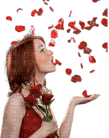 woman red petals femme rouge
