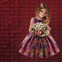 image encre couleur texture fille fleurs anniversaire mariage robe edited by me