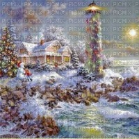 loly33 fond noël  Christmas    vintage  background phare