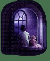 boy teddy window night fenetre nuit garçon ours en peluche