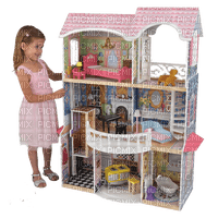 child with doll house