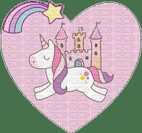 Licorne coeur château rose unicorn heart castle