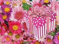 image encre color effet à pois bon anniversaire cadeau fleurs  edited by me