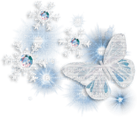 winter hiver butterfly papillon snow neige diamond blue deco