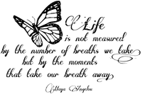 life text transparent black butterfly