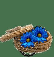 Corbeille - collier et fleurs bleues