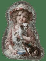 vintage child cat dog enfant chat