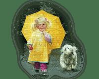 child girl dog umbrella enfant chien parapluie