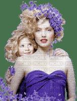 mom and child purple flowers  maman enfant violette fleur