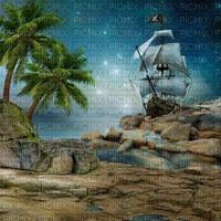 beach plage strand island insel meer ocean ship schiff navire pirates piraten night sea mer  summer ete paysage landscape fond background palm palme