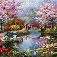 Japan spring garden bridge bg background - paintinglounge