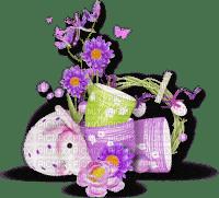 easter ostern Pâques paques deco tube bunny eggs eier œufs egg lapin flower fleur pot purple