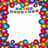 happy birthday frame balloons