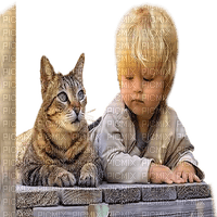 child with cat enfant chat