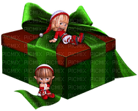 Kaz_Creations Gift Box Present Ribbons Bows Colours Elfs Dolls