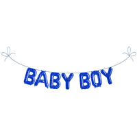 baby boy guirlande deco text blue