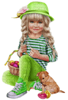 easter ostern Pâques paques deco tube basket eggs eier œufs egg dog girl child human enfant person bebe