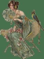femme, lady, green, vintage, woman