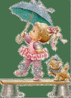 Mädchen, Ballerina, Schirm, Katze