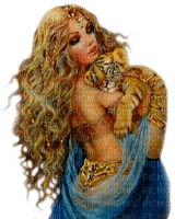 Woman.Tiger.Cub.Blue.Gold.Orange - KittyKatLuv65