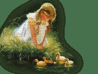 CHILD POND DUCKS enfant lac canards