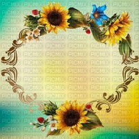 fond-background-encre-tube-cadre floral -decoration-tube-image-green   and yellow-cadre Sunflower__Blue DREAM 70