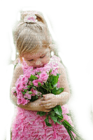 child girl pink roses enfant fillette roses